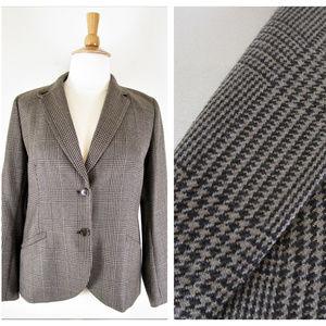 Talbots Plus Size Brown Plaid Blazer Jacket Career